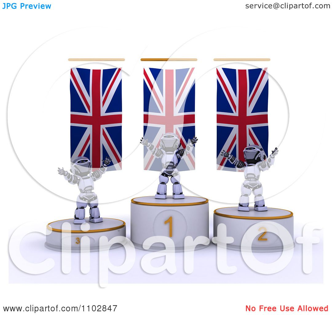 hight resolution of clipart 3d champion robots on first place and runner up podiums under british flags royalty free cgi illustration by kj pargeter