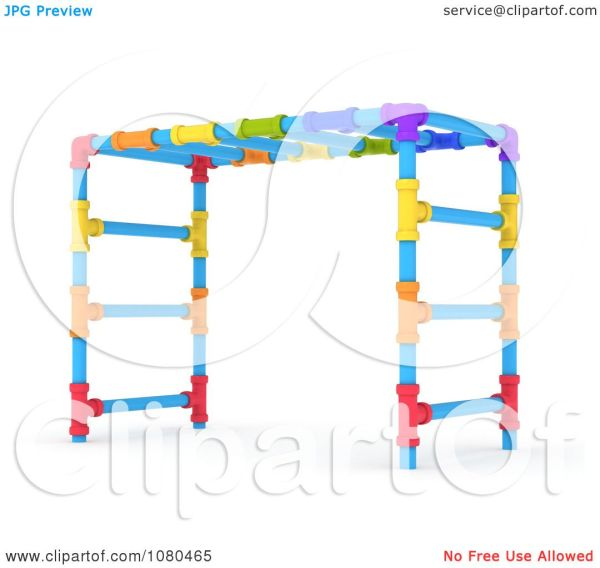Clipart 3d Colorful Monkey Bars On A Playground Royalty