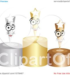clipart 3d first second and third place winner shooting stars on gold silver and bronze podiums royalty free vector illustration by andrei marincas [ 1080 x 1024 Pixel ]