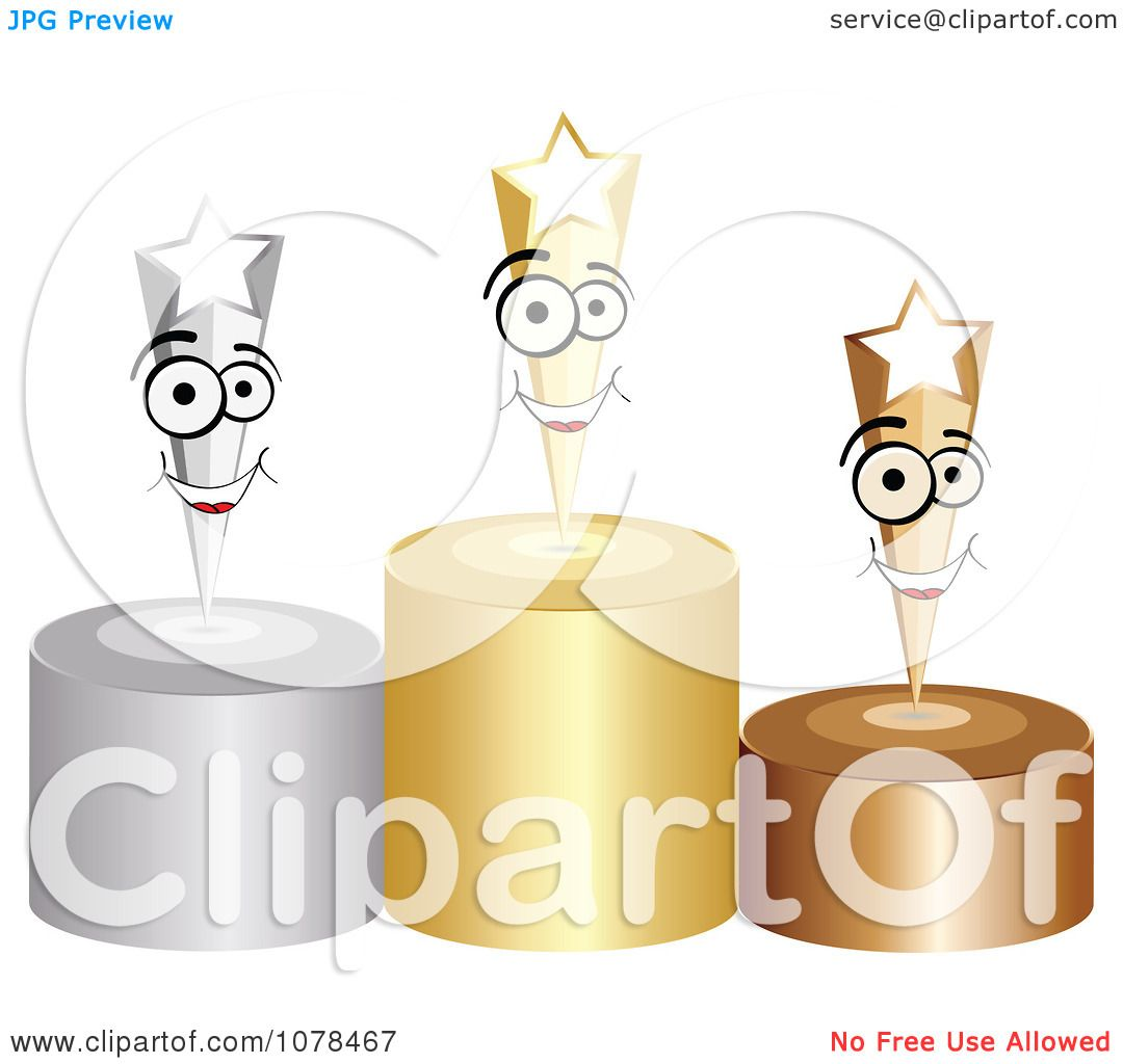 hight resolution of clipart 3d first second and third place winner shooting stars on gold silver and bronze podiums royalty free vector illustration by andrei marincas