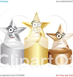 clipart 3d first second and third place winner stars on gold silver and bronze podiums royalty free vector illustration by andrei marincas [ 1080 x 1024 Pixel ]