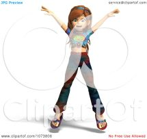 Clipart 3d Hippie Girl Jumping - Royalty Free Cgi