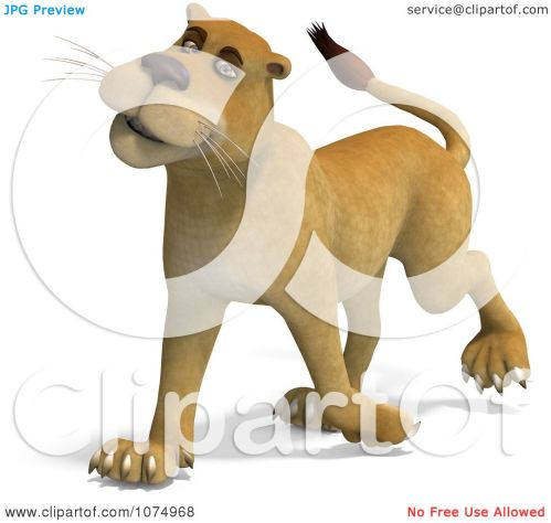 small resolution of clipart 3d lioness walking 1 royalty free cgi illustration by ralf61