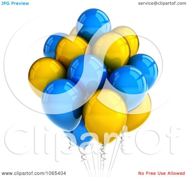 clipart 3d yellow and blue helium