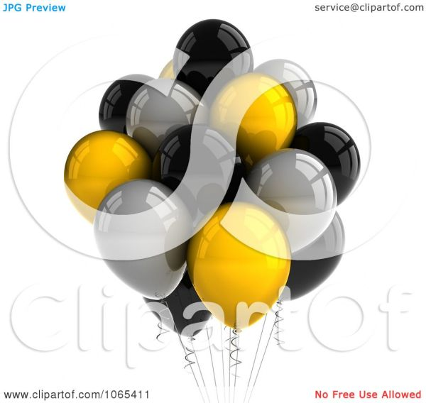 clipart 3d yellow black and silver