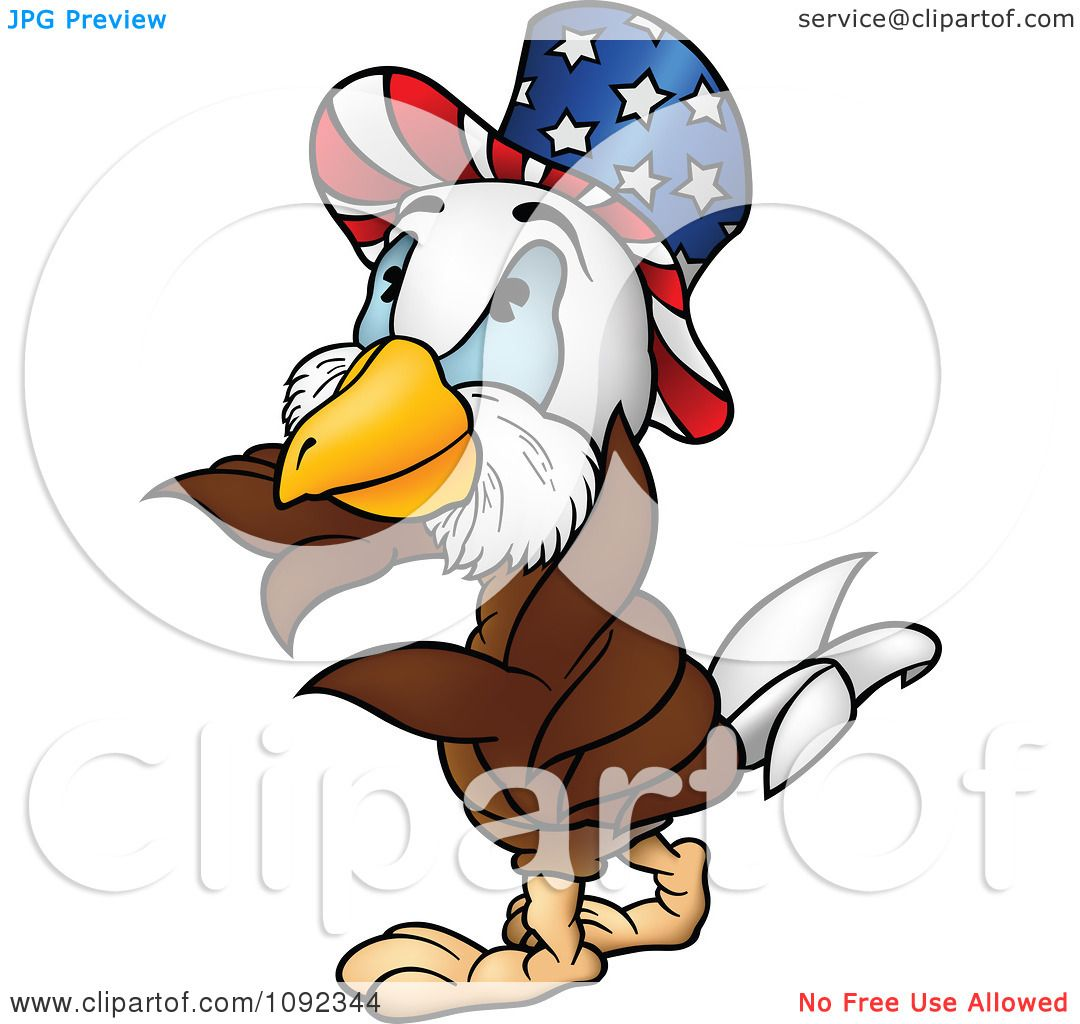 hight resolution of clipart american bald eagle wearing an uncle sam hat royalty free vector illustration by dero