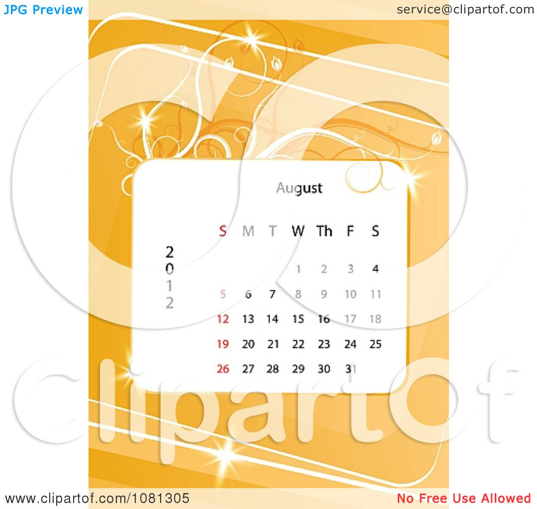 hight resolution of clipart august 2012 calendar over orange with vines royalty free vector illustration by milsiart