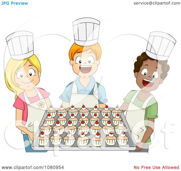 clipart baking club kids holding