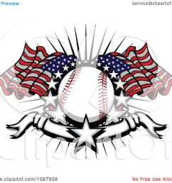 clipart baseball with american flags stars and a banner royalty free vector illustration by chromaco [ 1080 x 1024 Pixel ]