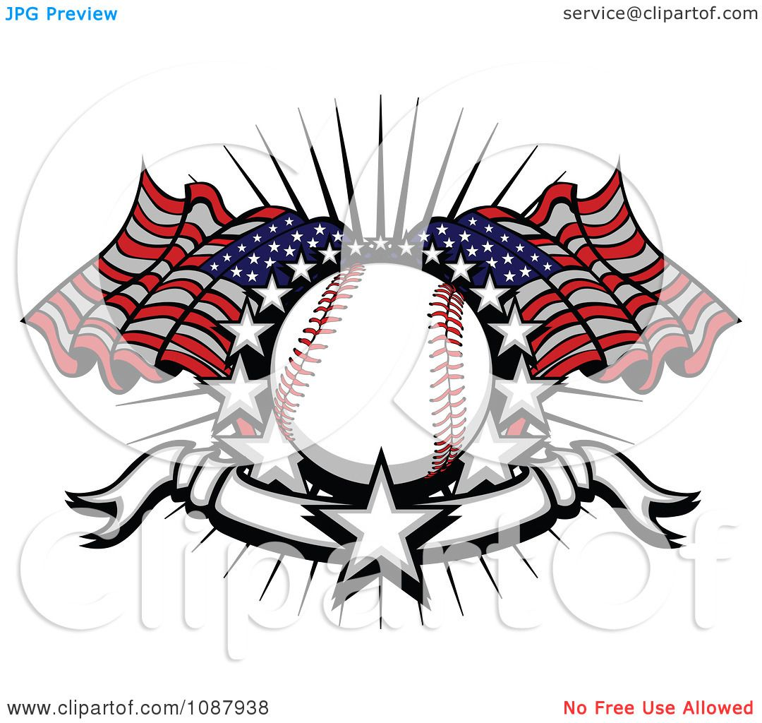 hight resolution of clipart baseball with american flags stars and a banner royalty free vector illustration by chromaco
