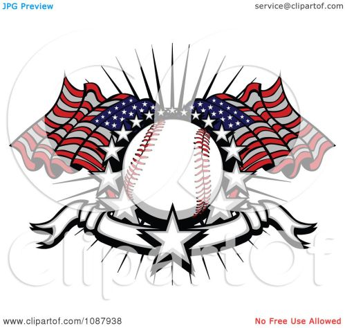 small resolution of clipart baseball with american flags stars and a banner royalty free vector illustration by chromaco
