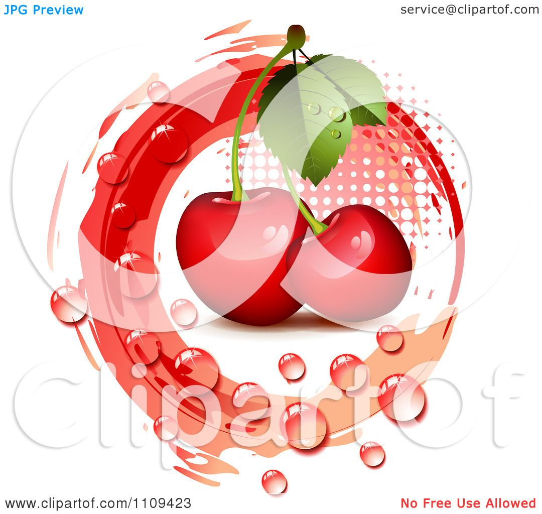 hight resolution of clipart bing cherries with droplets halftone and a red circle royalty free vector illustration by merlinul