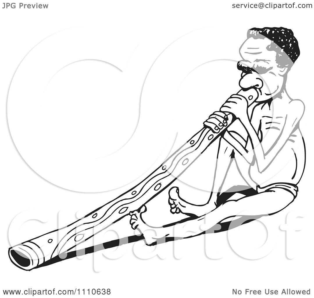 Clipart Black And White Aussie Aboriginal Man Sitting And