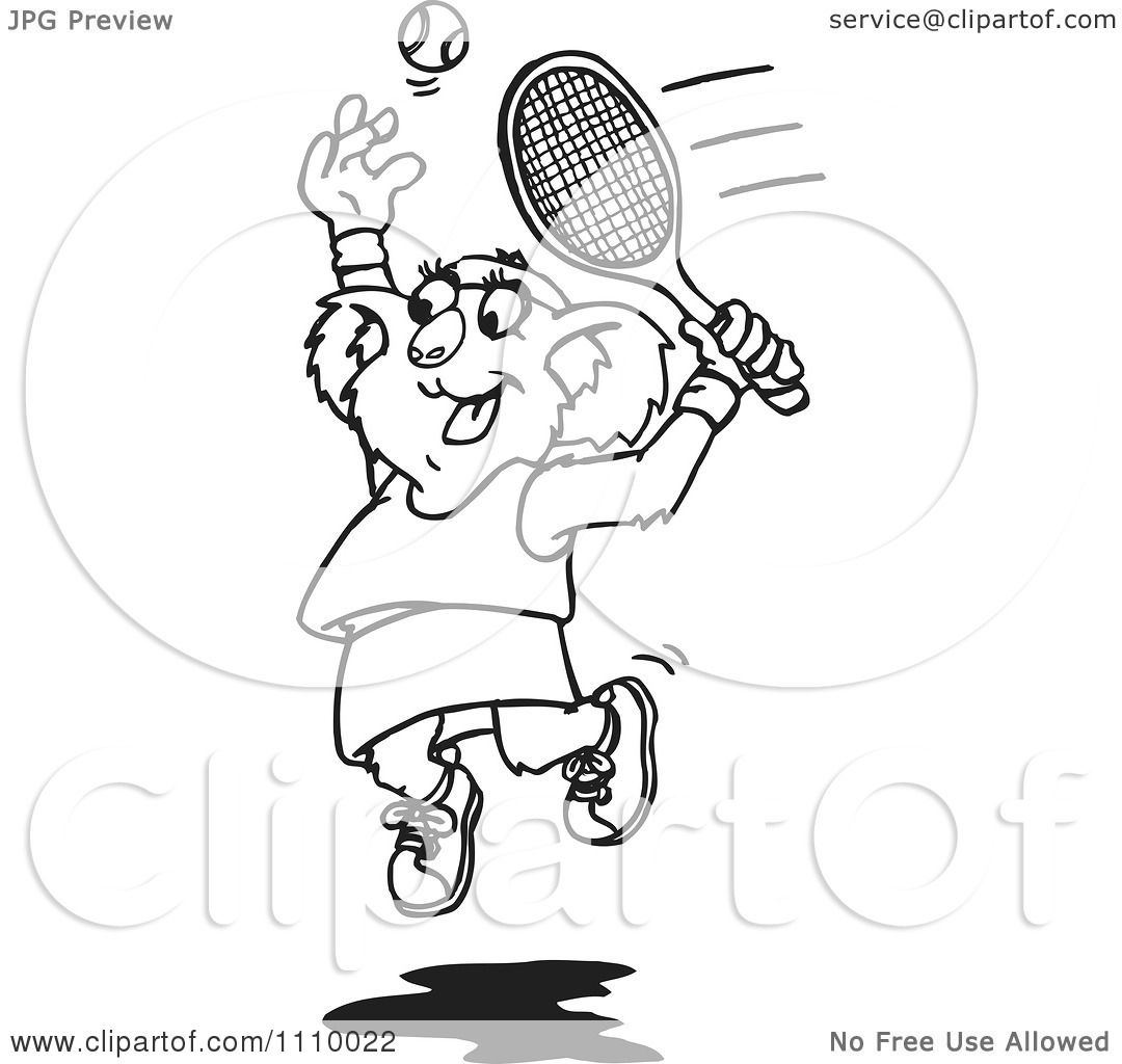 Clipart Black And White Aussie Female Koala Playing Tennis