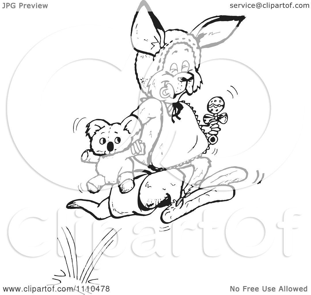 Clipart Black And White Aussie Kangaroo Baby Hopping