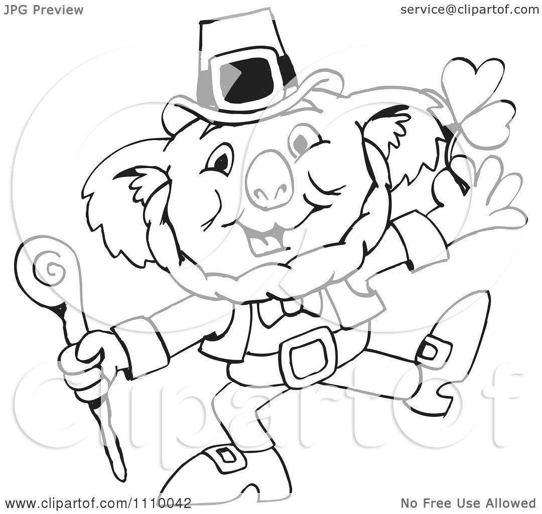 Clipart Black And White Aussie Koala St Patricks Day Leprechaun