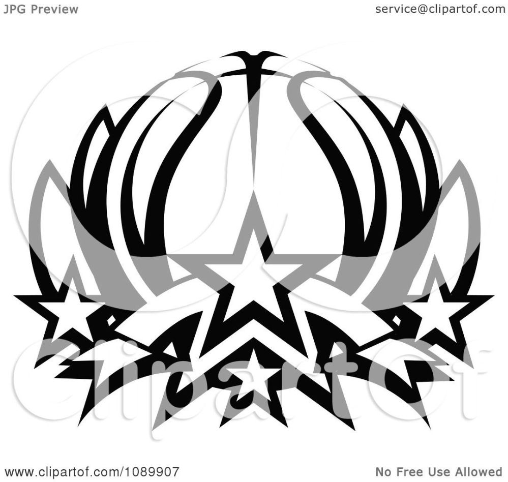 medium resolution of clipart black and white basketball lotus with stars royalty free vector illustration by chromaco