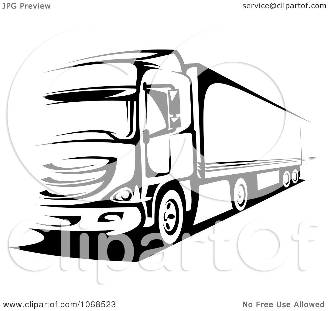 Clipart Black And White Big Rig Truck 1