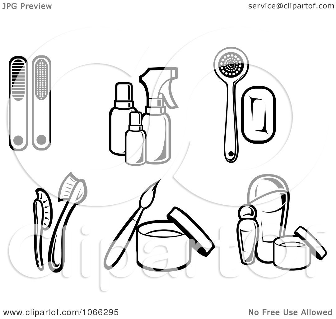 Clipart Black And White Cosmetic Icons 1
