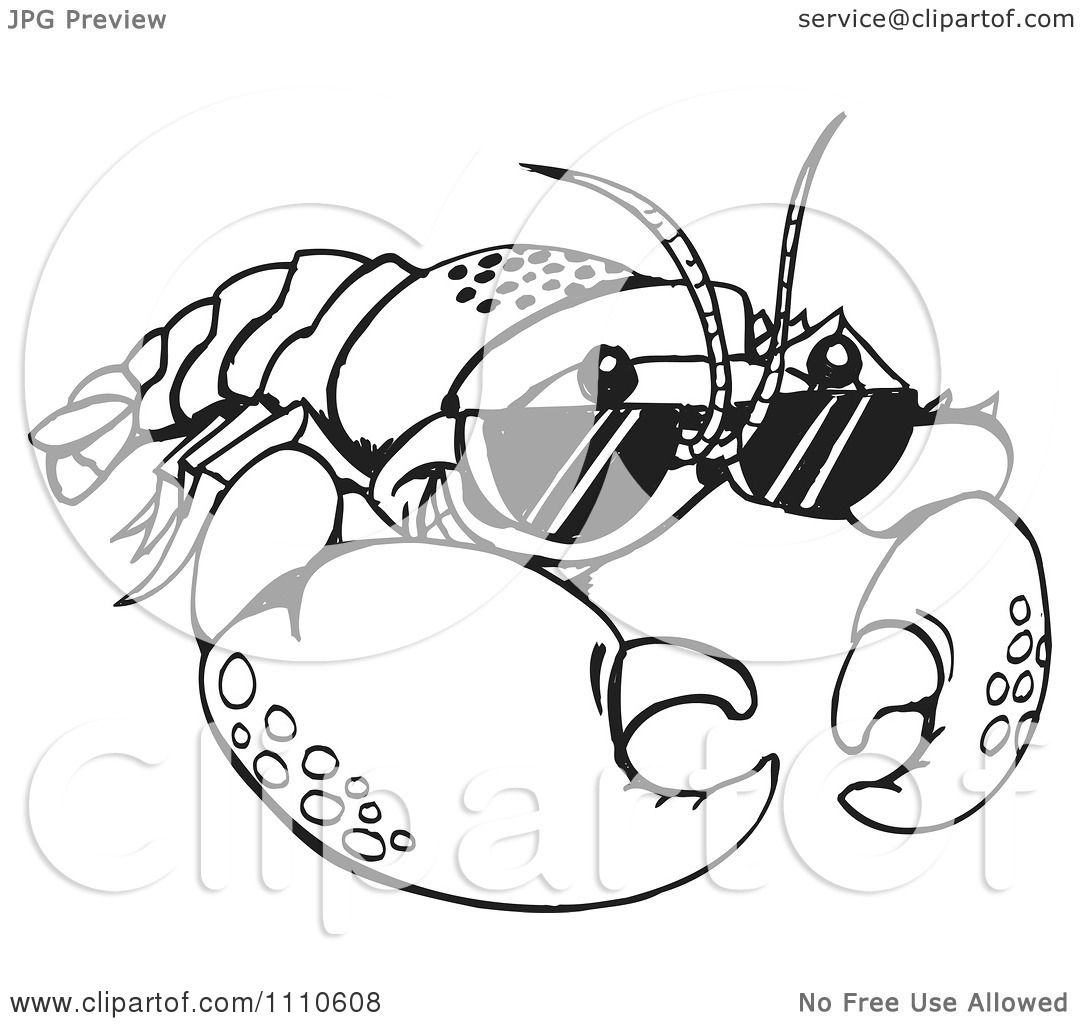 Clipart Black And White Crayfish Wearing Sunglasses