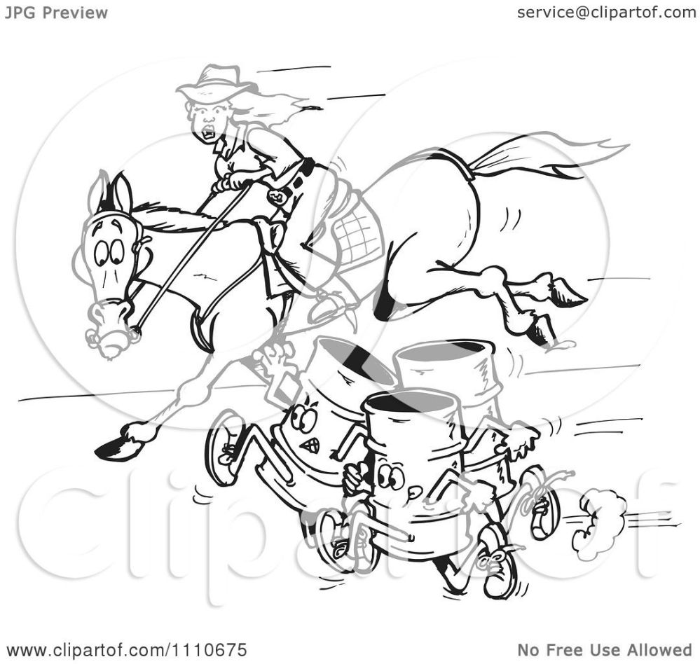 medium resolution of clipart black and white equestrian woman and horse racing barrels royalty free vector illustration by