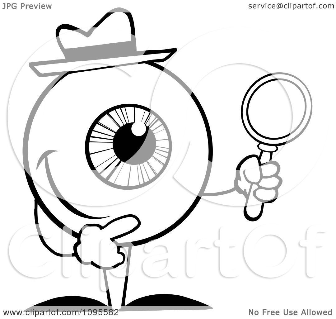 Clipart Black And White Eyeball Character Detective