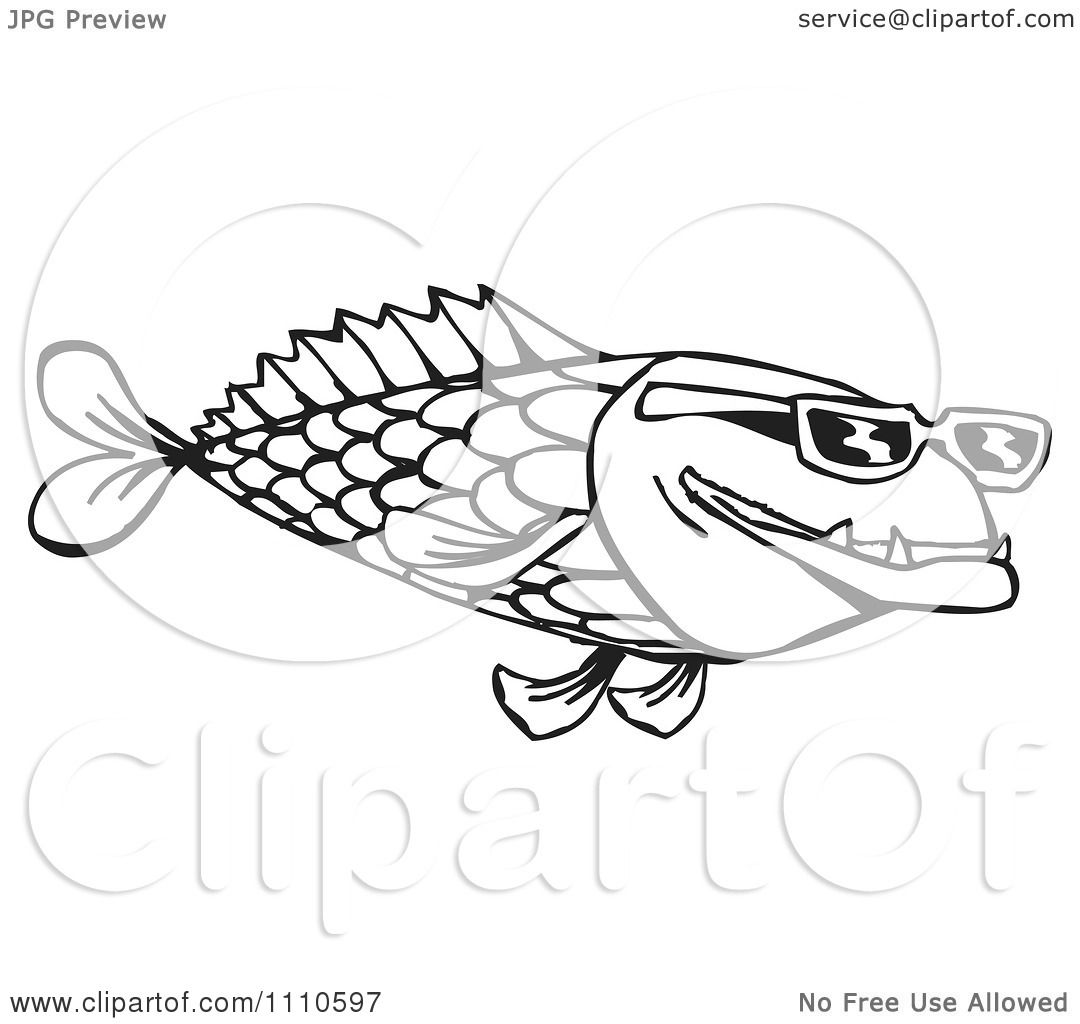 Clipart Black And White Fish Wearing Sunglasses