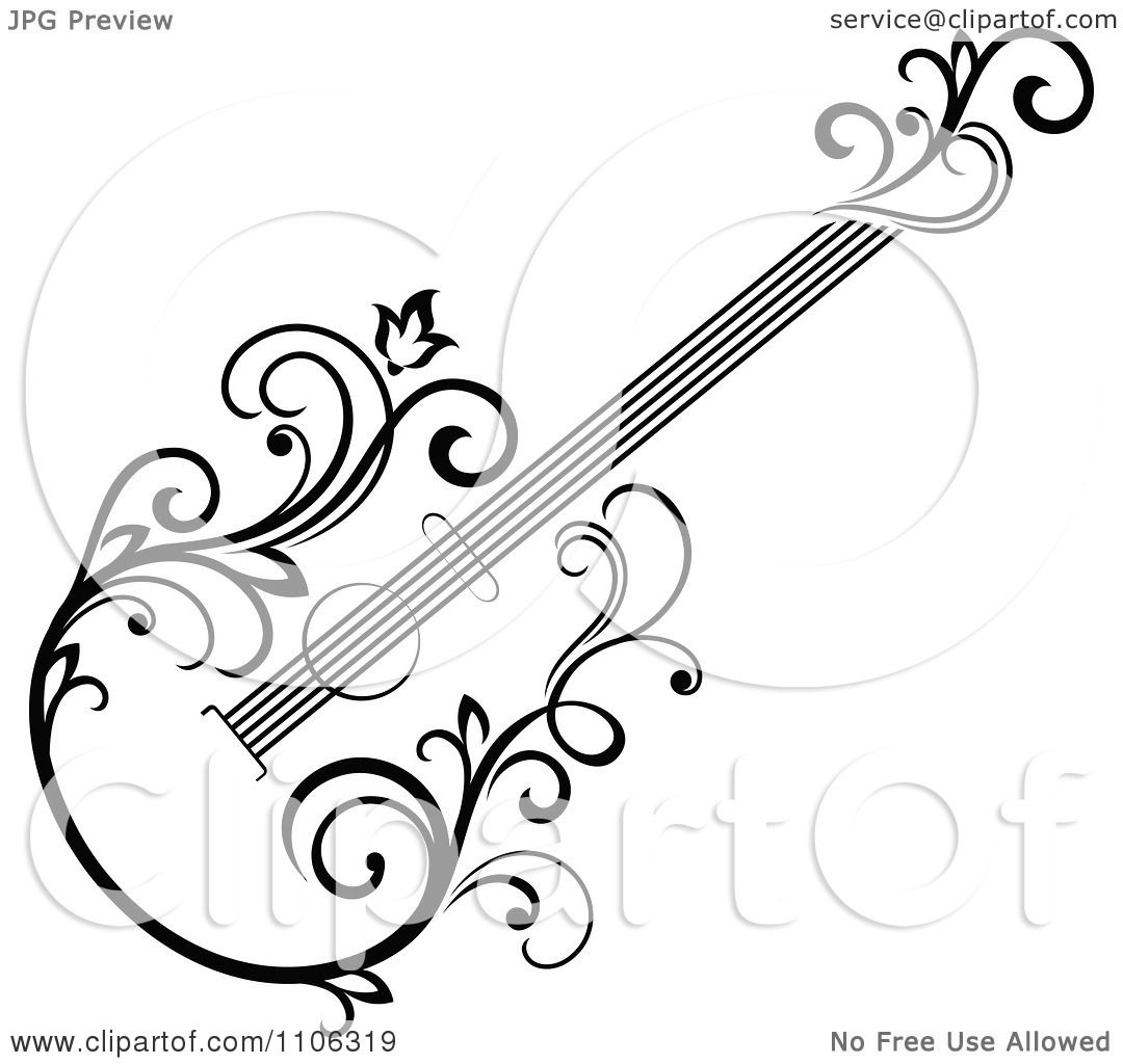 Clipart Black And White Floral Guitar 2