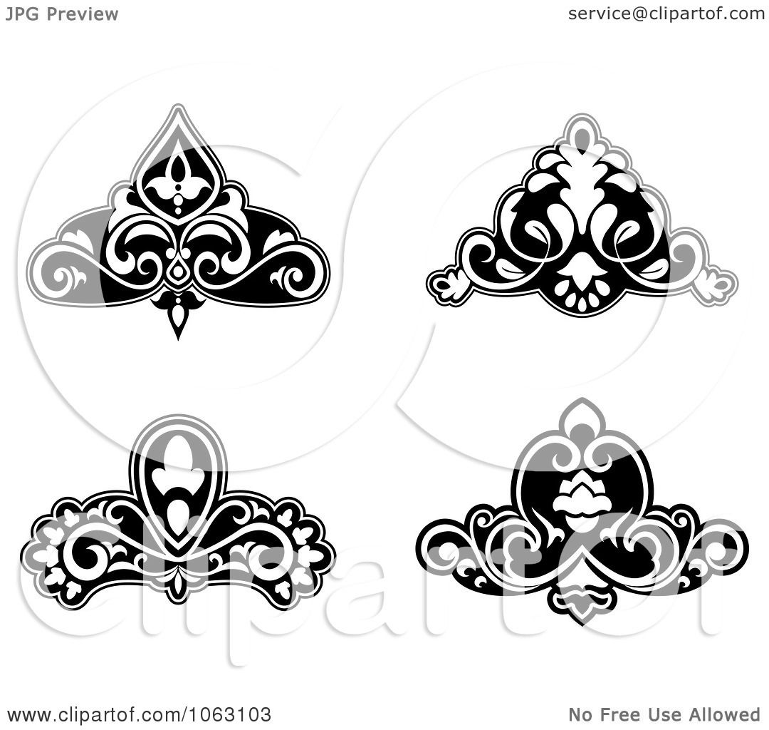 Clipart Black And White Flourishes Digital Collage 4