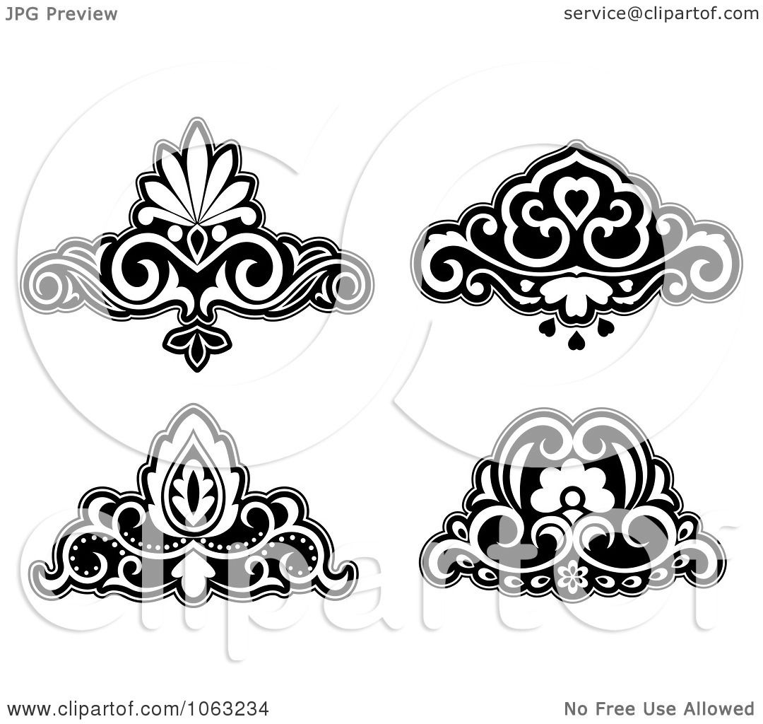 Clipart Black And White Flourishes Digital Collage 5