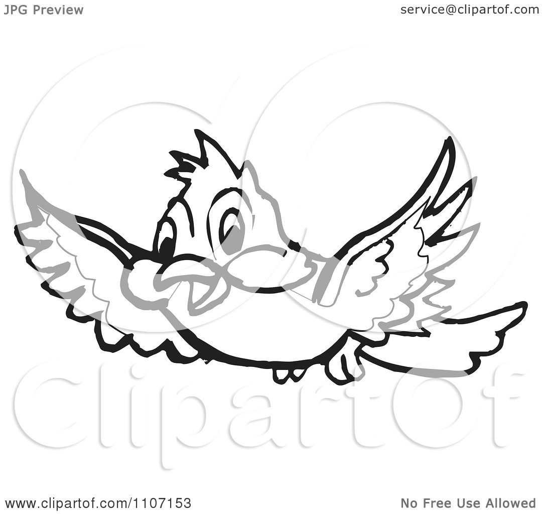 Clipart Black And White Happy Bird Flying