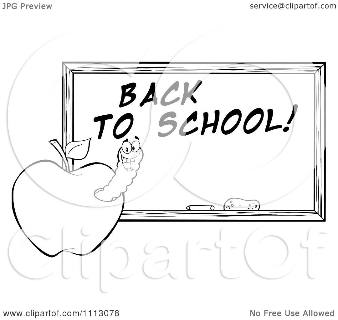 Clipart Black And White Happy Worm In An Apple By A Back To School Chalkboard Royalty Free