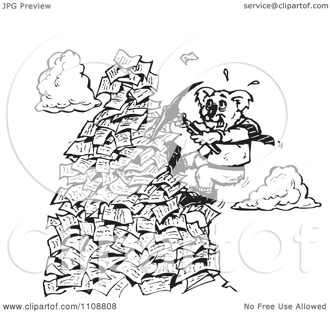 Clipart Black And White Koala Climbing A Mountain Of