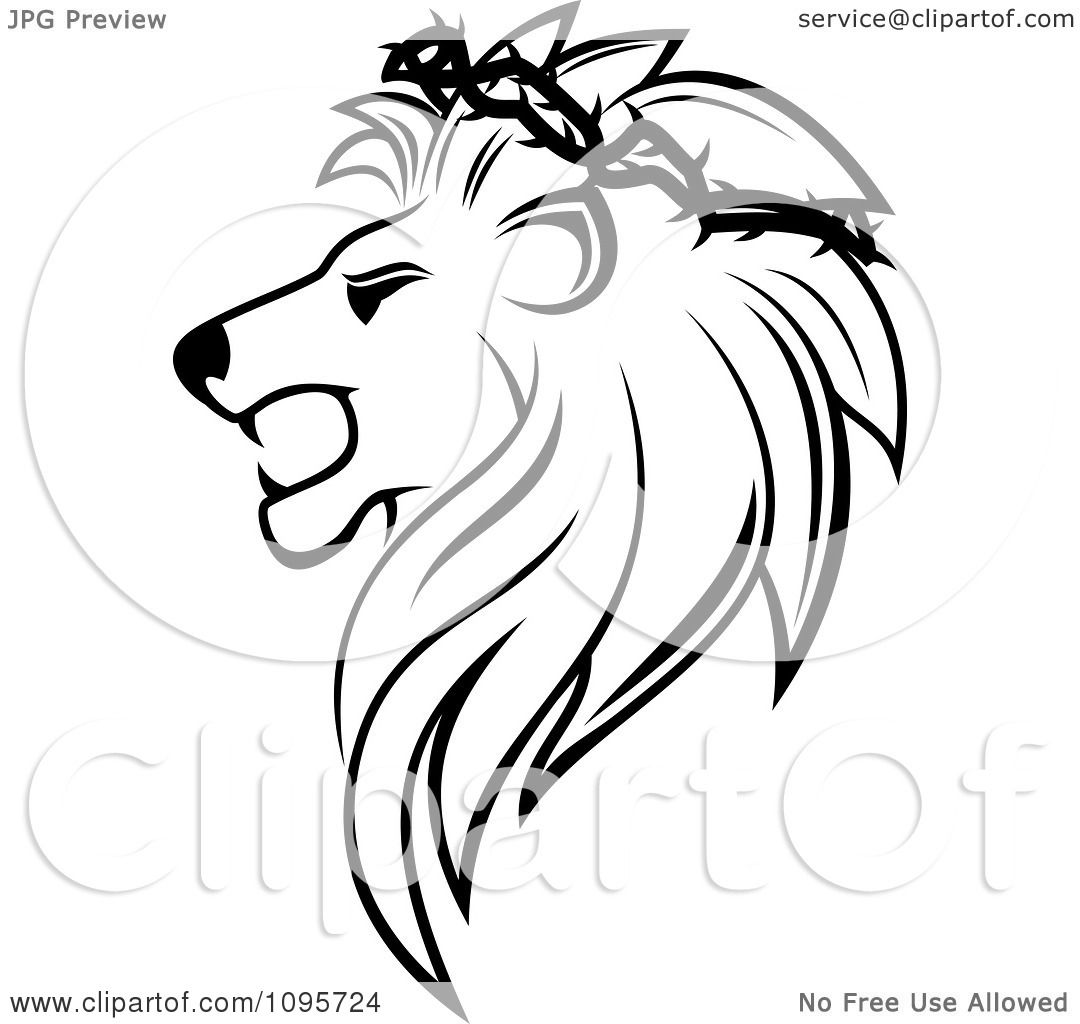 Clipart Black And White Lion Head In Profile With A Thorny