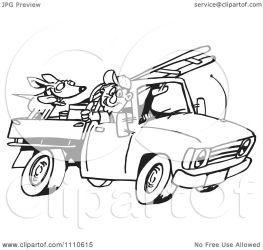 truck dog driving clipart ladder illustration royalty holmes dennis designs