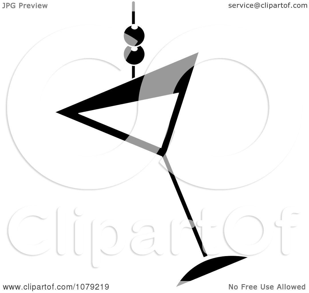 Clipart Black And White Martini Glass With Olives