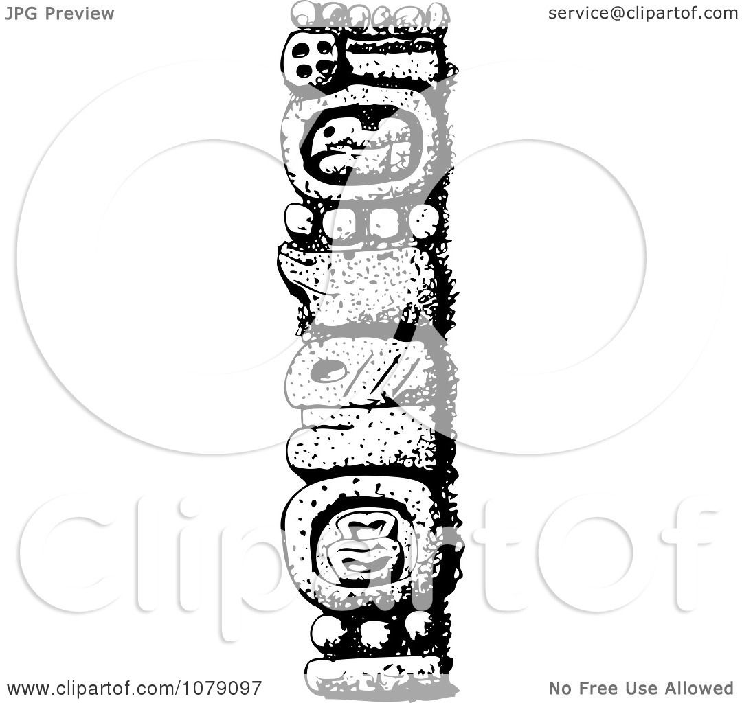 Clipart Black And White Mexican Totem Pole