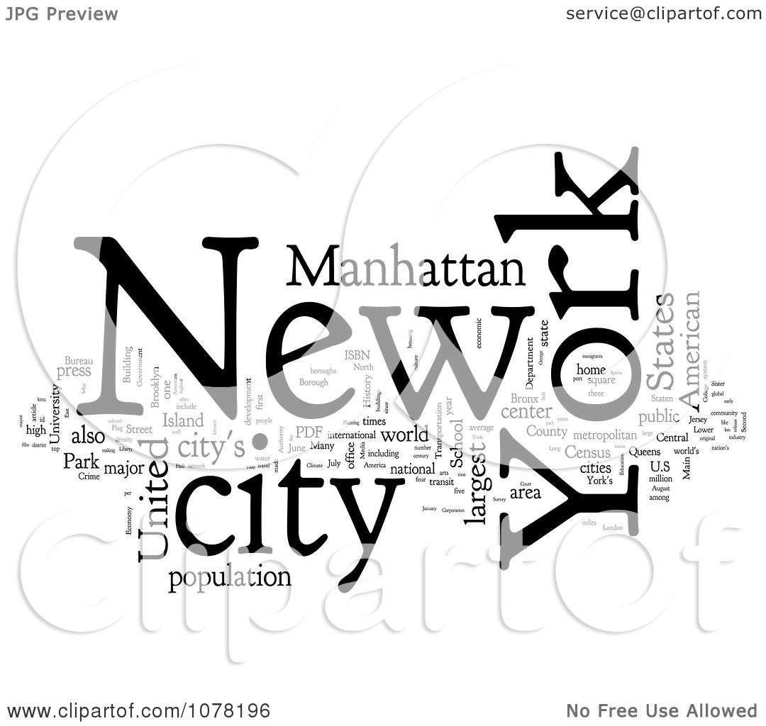 Clipart Black And White New York City Word Collage