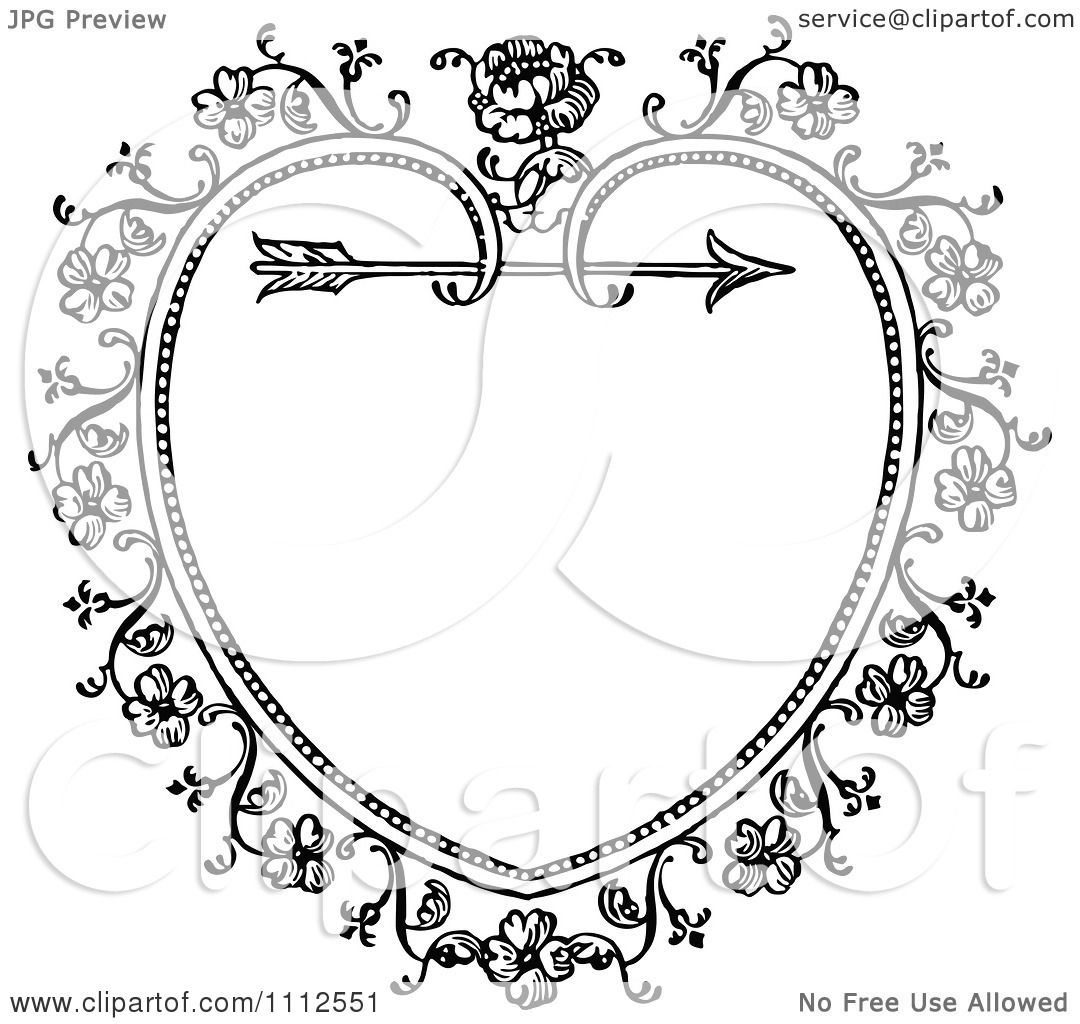 Clipart Black And White Ornate Vintage Floral Heart And