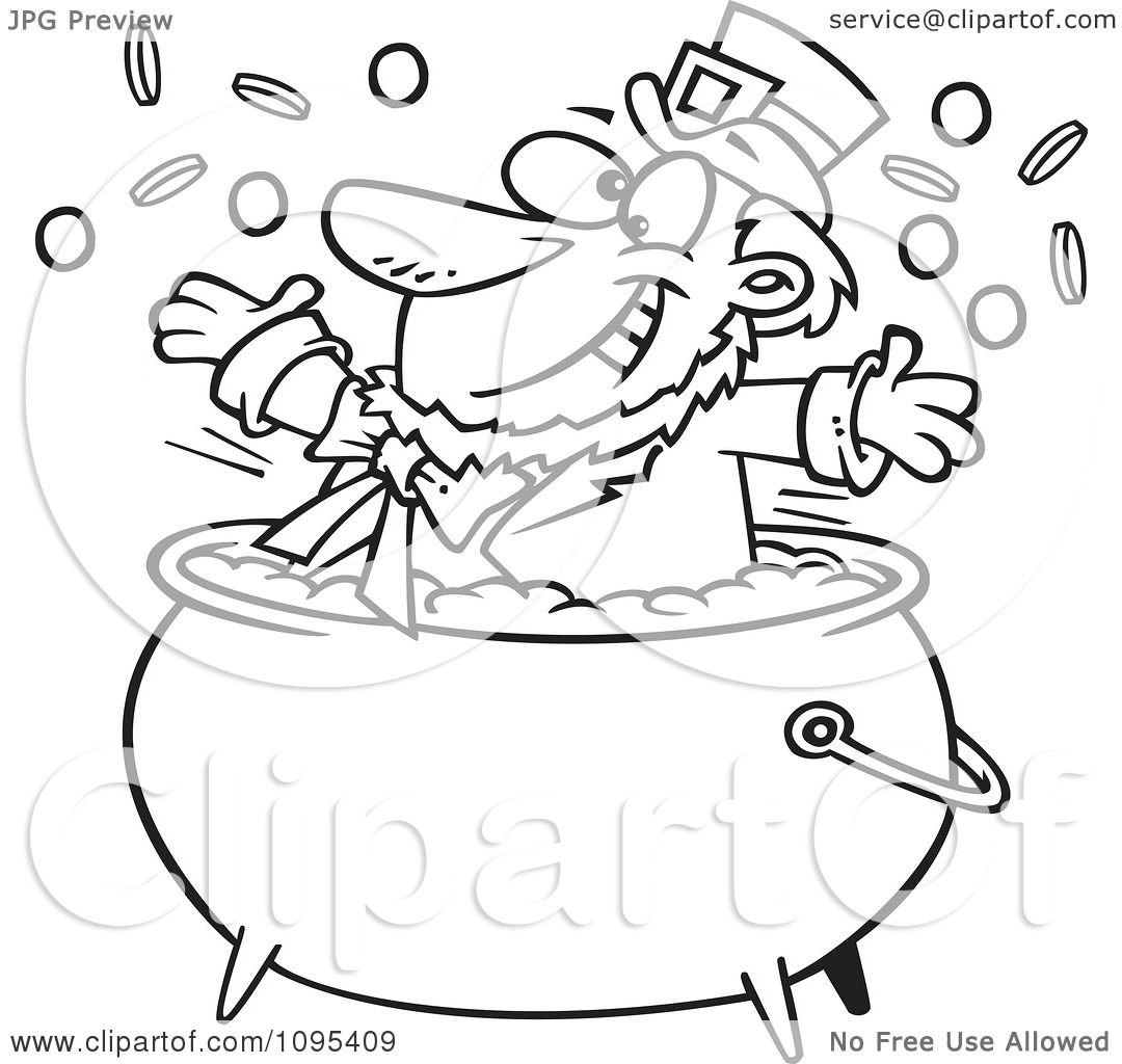 Clipart Black And White Outline Cartoon St Patricks Leprechaun Playing In A Pot Of Gold