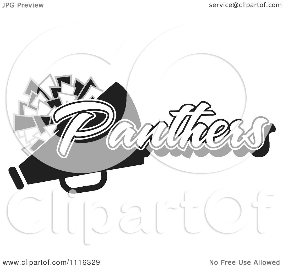 Clipart Black And White Panthers Cheerleader Design