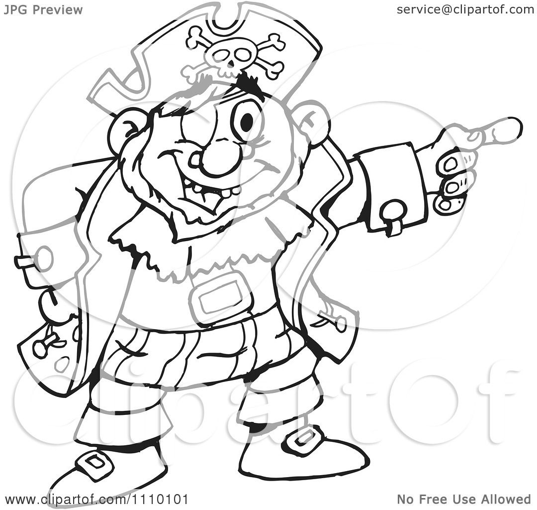 Clipart Black And White Pirate Pointing