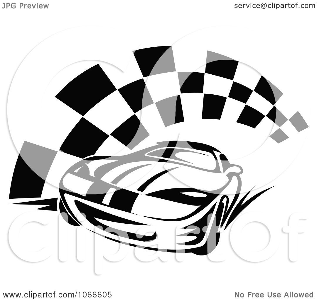 Clipart Black And White Race Car And Checkered Flag 2