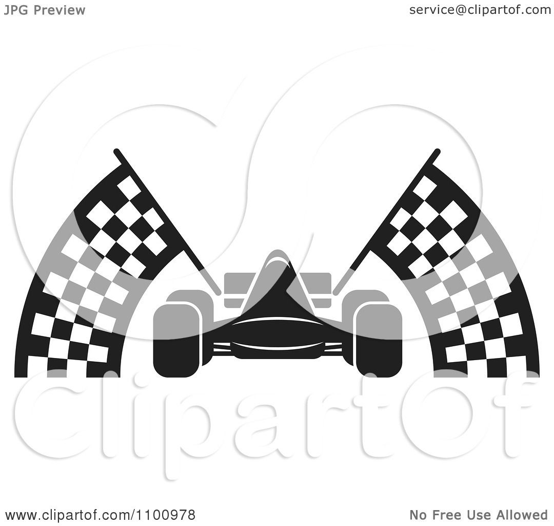 Clipart Black And White Race Car With Checkered Flags