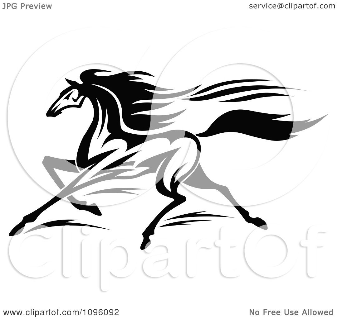 Clipart Black And White Racing Horse Running