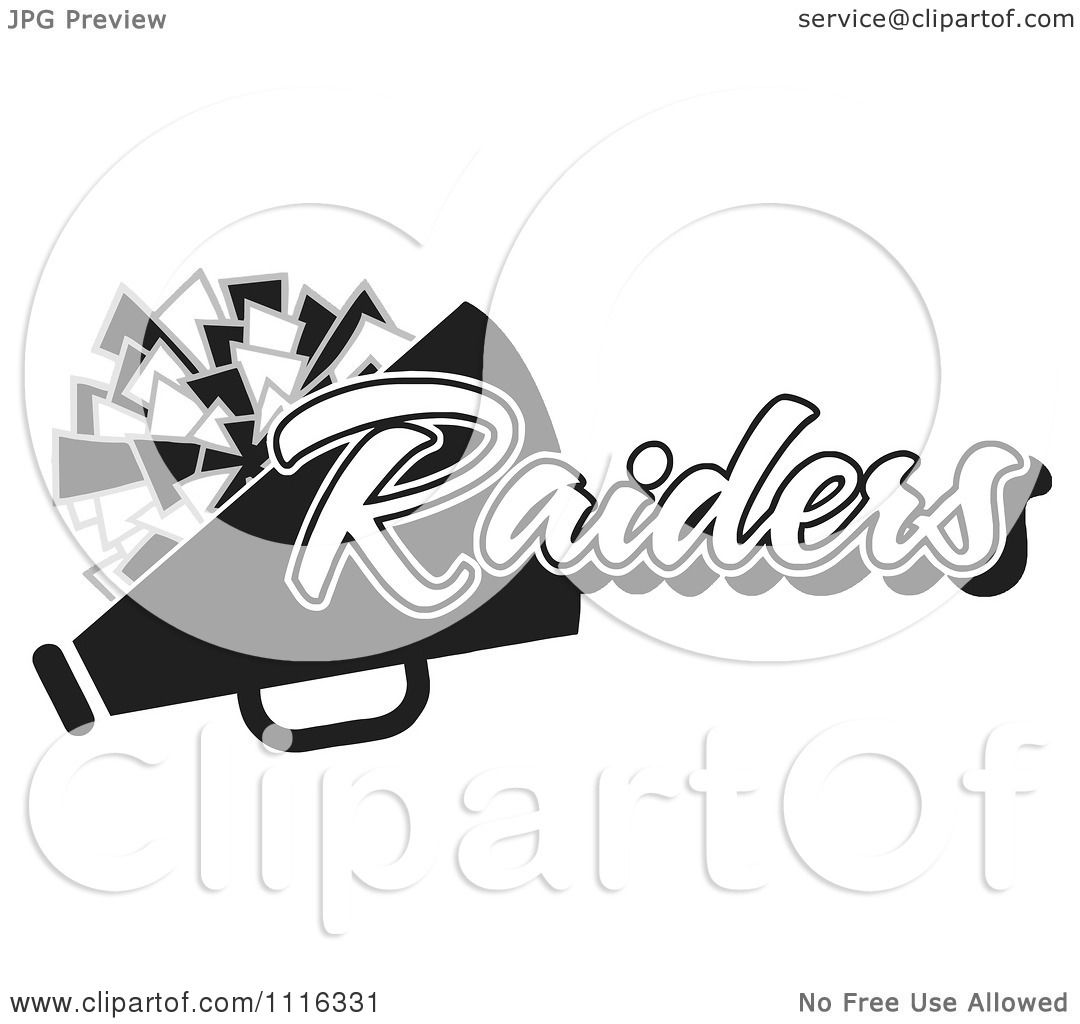 Clipart Black And White Raiders Cheerleader Design