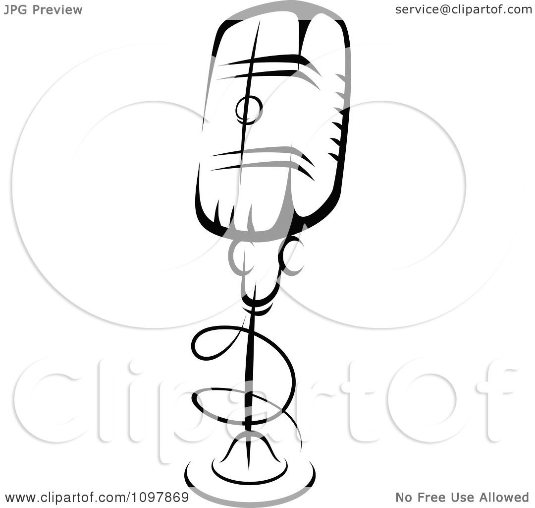 Clipart Black And White Retro Radio Desk Microphone 4