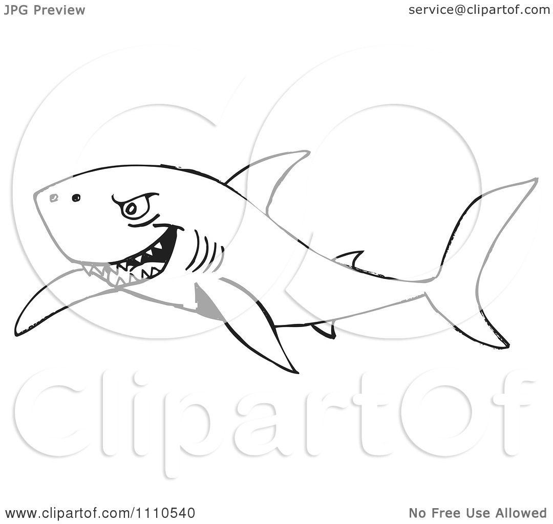 Clipart Black And White Shark 1