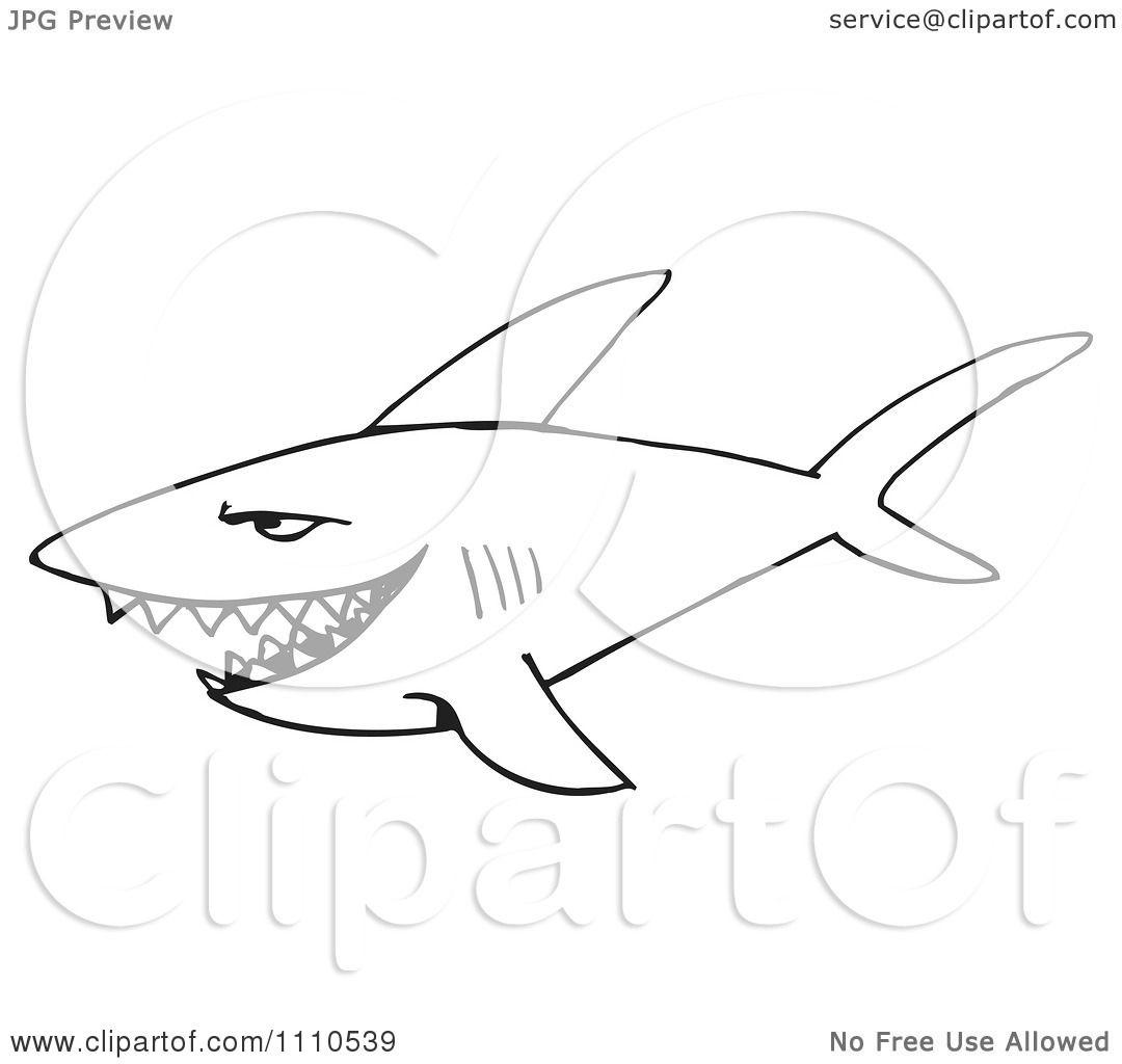 Clipart Black And White Shark 2