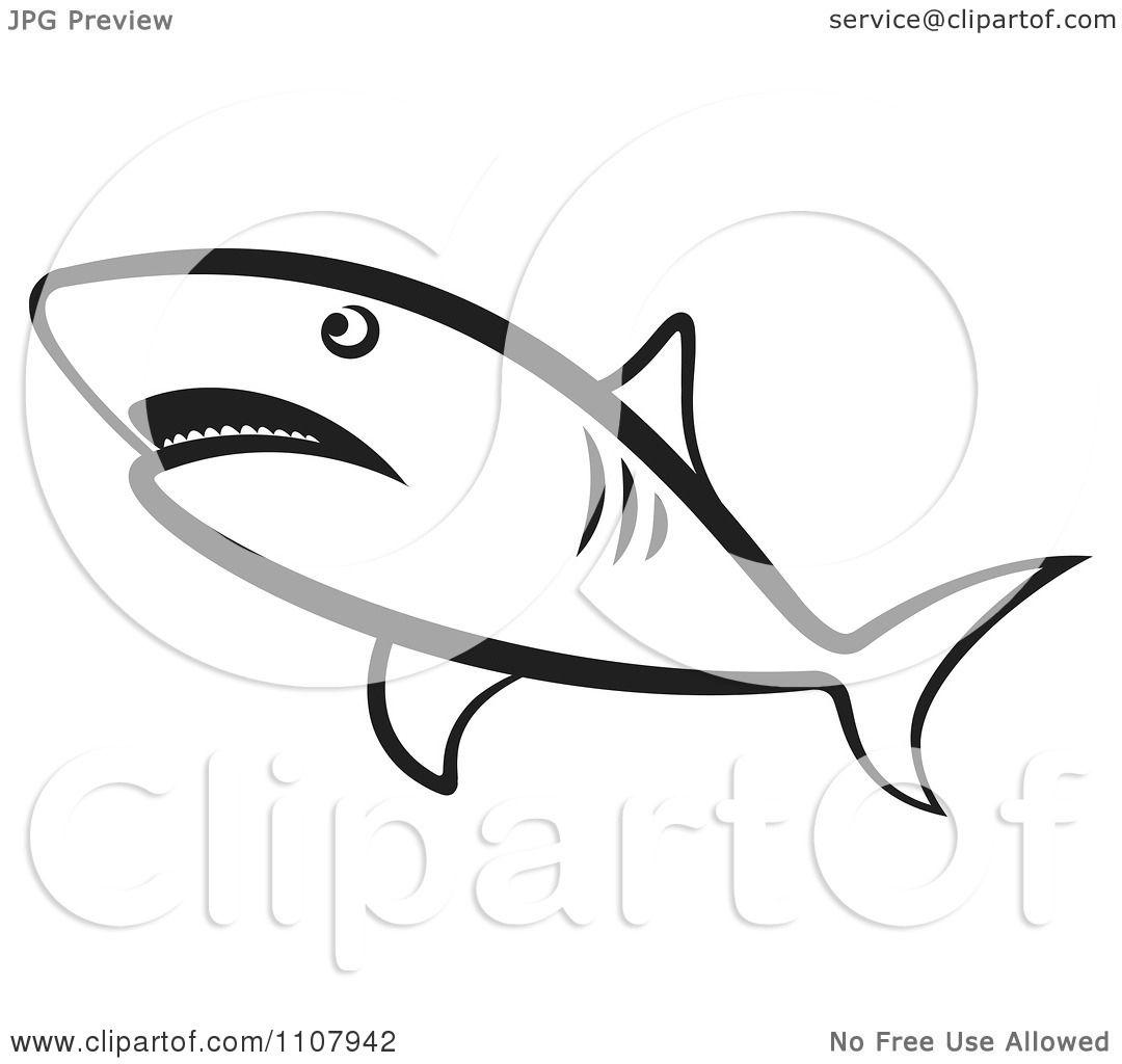 Clipart Black And White Shark Swimming